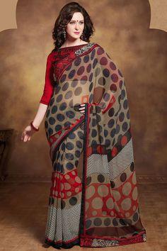casual printed red saree
