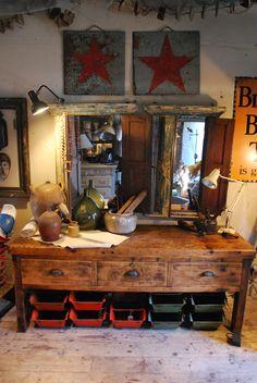 Industrial workbench. Available at Reginald Ballum.