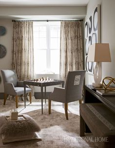 Parsons armchairs with back appliqué sit poised for a game around the custom shagreen game table. - Photo: John Bessler / Design: Barbara Page Glatt Seaside Style, H Town, Room Window, Table Games, Traditional House, Armchairs, Neutral Colors, Pantone, Window Treatments