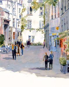 Paris Print of Original Watercolor Painting, Rue de Barres, French cafe, France, cityscape, street scene, artwork, Paris France, Edie Fagan by EdieFaganArt on Etsy