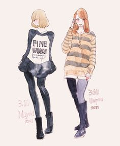Couture Fashion, Fashion Art, Fashion Design, Fashion Figures, Manga Drawing, Drawing Stuff, Illustration Girl, Beautiful Drawings, Cute Korean