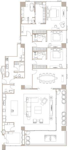 The Residences at Sindhorn Kempinski Dream House Plans, House Floor Plans, Plan Ville, Circle House, Kempinski Hotel, Condo Interior, Hotel Room Design, Home Building Design, Apartment Floor Plans