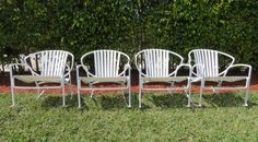 Vintage Italian Patio Rockers - RARE - Four White Orange Slice Rockers With Straps - Metal Rocking Chairs - Mid Century Outdoor Furniture