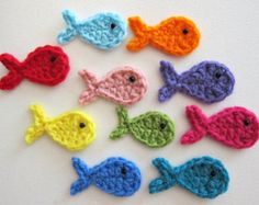 "1pc 2.5"" Crochet FISH Applique"