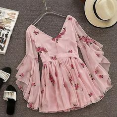 V-neck Flare Sleeve Flower Short Ruched Mini Pink Chiffon Dress SE – deevybuy Clothes Stylish Dresses, Cute Dresses, Beautiful Dresses, Casual Dresses, Girls Dresses, Flower Dresses, Pink Dresses, Beautiful Shoes, Teen Fashion Outfits