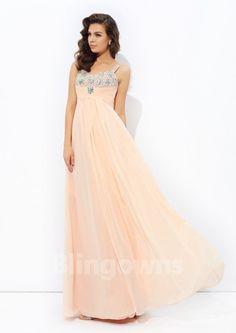 Straps Zipper Sleeveless Crystals Floor Length Chiffon A-line Evening / Prom Dresses
