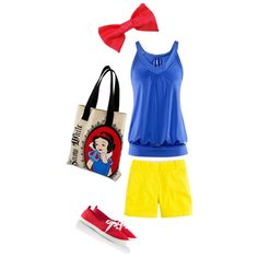 Snow White...could put something similar to this together for P for our next trip. Maybe try to create outfits to look like several of the princesses. Cute and much more comfy than the princess dresses.