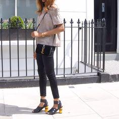 Outfit inspiration - Ganni Off Shoulder Top - Acne Studios Pica leather sandals - YSL Monogram Université Small leather shoulder bag - Anni Lu necklace