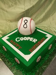 Love this baseball themed cake The colors can be changed to suit