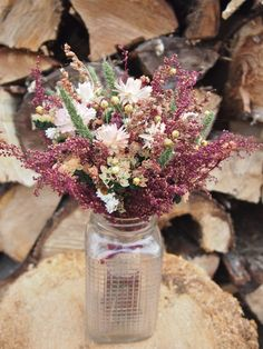 SHABBY and RUSTIC Bridesmaid Dried Flower Bouquet - Burgundy and Burlap Country Wedding (could make for centerpieces, bride, boutionierre, bridesmaid)