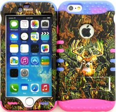 """Amazon.com: Green, Brown and Purple """"Realistic Camouflage Buck with Non-Slip Grip Texture"""" 3 Piece Layered ULTRA Tuff Custom Armored Hybrid Case for the NEW iPhone 6 Plus 5.5"""" Inch Smartphone by Apple {Made of Soft Silicone Gel and Hard Rubberized Plastic with External Built in Kickstand} """"All Ports Accessible"""": Cell Phones & Accessories"""