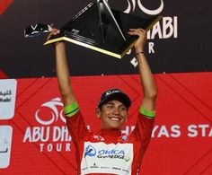Esteban Chaves collects his overall prize at the inaugural Abu Dhabi Tour. (Getty Images Sport)