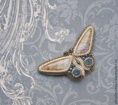 Купить Брошь Мотылек Лунный свет - кремовый, серо-голубой, blue shade, светлая бронза