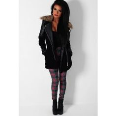 High Society Black Leather Sleeved Faux Fur Trim Coat
