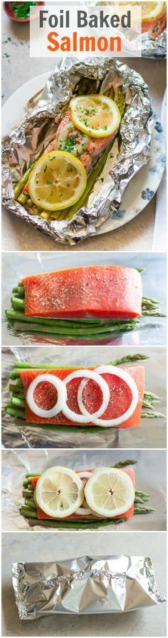Foil Baked Salmon - You infuse your salmon with lemon, onion, dried oregano and . - Foil Baked Salmon – You infuse your salmon with lemon, onion, dried oregano and asparagus for a r - Baked Salmon Recipes, Fish Recipes, Seafood Recipes, Paleo Recipes, Low Carb Recipes, Cooking Recipes, Salmon Meals, Fat Free Recipes, Recipies