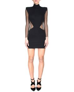 Dotted Sheer-Inset Sheath Dress by Balmain at Bergdorf Goodman.