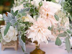Gorgeous wedding centerpiece with blush peonies. Violetta Flowers, San Francisco.
