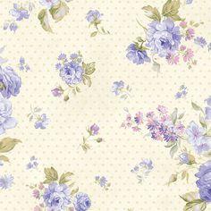 fleur bleu sur fond pois