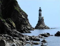 Lighthouse on the Okhotsk sea in Russia