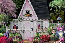 Pink Garden Shed - GardenPuzzle - online garden planning tool Garden Tool Storage, Garden Tools, Garden Sheds, Puzzle, She Sheds, Pink Garden, Exterior Remodel, Pink Houses, Garden Planning