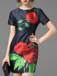 Kurzes+Kleid+Rundhals+mit+Rose+Druck+-marineblau+35.68