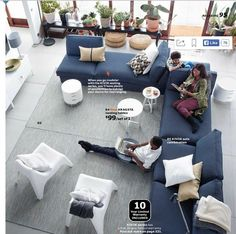 IKEA living room - love the plants along the windows Sofa Living, Ikea Living Room, Living Room Grey, Ikea Vallentuna, Ikea Usa, Blue Sectional, Blue Couches, Navy Furniture, Home Furniture