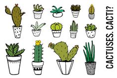 Potted Cactus Doodle Clip Art by Pepper on @creativemarket