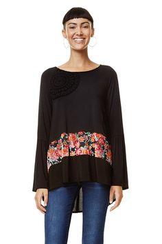 Black floral T-shirt - Audrey | Desigual.com