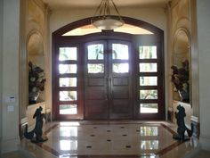 Custom Mahogany Entry Doors, Sidelights and Transom Unit traditional front doors Entry Door With Sidelights, Home, Mediterranean Front Doors, Interior Stairs, Door Design Interior, Doors Interior Modern, Doors Interior