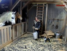 https://flic.kr/p/EY75zQ   Horse chores   This is 1:6 Horse Barn being built. Not yet completed but getting there. Perfect for ASMUS Horses or other Barbie, Hot Toys, Fashion Royalty or 12 Inch Collectible figures. Barn will be complete with Hay Loft, Tack Room and Horses!  Black Label Farrah Fawcett repainted/restyled by artist Noel Cruz of www.ncruz.com for www.myfarrah.com.  1:6 scale furnishings by Ken Haseltine of Regent Miniatures.  Regent Miniatures Your world, smaller scale.  1:4…