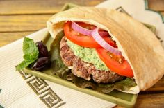 Just Local Food What's for Dinner? Greek Olive Burgers on Pita with Spinach Feta Salad