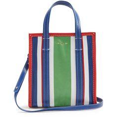 Balenciaga Bazar mini grained-leather tote (83.210 RUB) found on Polyvore featuring women's fashion, bags, handbags, tote bags, tote purses, striped purse, mini tote, stripe tote bag and white purse