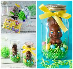 Easter is almost here! If you like to give gifts, make these fun chocolate bunny jars! You can customize it with any chocolate and candies you find as well. Supplies per jar: Mason jar, wide or regular mouth (They sell the kind without Ball on the front at Michaels) Easter grass Chocolate bunny Candy – I …