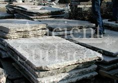 """Antique thick Limestone slabs milled at 3"""" in thickness sitting in our yard, to be used for kitchen countertops, bathroom vanity tops, BBQ tops, kitchen islands, pool copings, spa coping edges, landscaping and stairs, salvaged from the bottom of farm house foundations"""