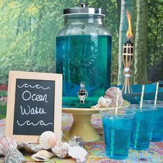 Ocean Water - OrientalTrading.com. Make a sweet splash at your beach bash and sip up in seaworthy style with your own Ocean Water drink. This kid-friendly luau drink is the perfect way to make waves at your party. Fill a drink dispenser with this bubbly beach-inspired beverage and place it on your party table for partygoers to sip up at their leisure.