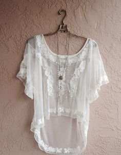 Image of Designer Lace high low rare mesh embroidery gypsy top
