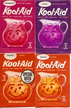 """Vintage General Foods Kool-Aid Drink Mix Packs by gregg_koenig, via Flicker. We always had Kool-Aid and a cookie for """"refreshments"""" at Vacation Bible School. Kool Aid, Those Were The Days, The Good Old Days, My Childhood Memories, Sweet Memories, Summer Memories, Oldies But Goodies, I Remember When, Good Ole"""