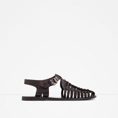 Image 1 of T-BAR LEATHER SANDALS from Zara