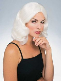 Flowing Wig in White - Great with a glamorous Hollywood costume or an Angel Costume. Be sure to get a wig cap to control hair under the wig. It improves the wig fit for better style and enhances wig comfort. Headband Hair Extensions, Types Of Hair Extensions, Hair Extensions For Short Hair, Feathered Hairstyles, Wig Hairstyles, Jessica Simpson Hair Extensions, Colored Wigs, Colored Hair, Costume Craze