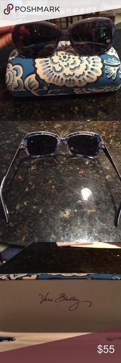 Vera Bradley Blue Lagoon Polarized Sunglasses Still in great condition! Polarized lenses make it perfect for summer time! In a subtle, calming blue tone! Vera Bradley sunglasses case included! Vera Bradley Accessories Sunglasses