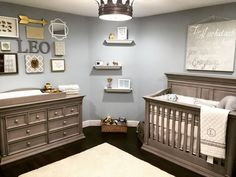 Classic Serene Nursery Fit for a King - A royal-inspired gray baby boy nursery!
