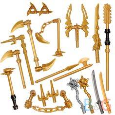 LEGO Ninjago Set/15 Golden & Silver Weapons Set - Spinjitzu weapons Dragon Sword #LEGO