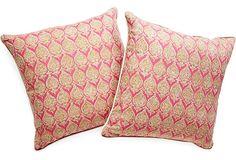 """Custom Indienne Pillows,Pair -22"""" sq."""