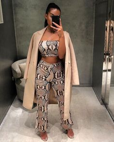 Sibybo Snake Skin Print Strapless Sexy Two Piece Set Women Off Shoulder Autumn Crop Top and Pants Set Casual Women Tracksuit
