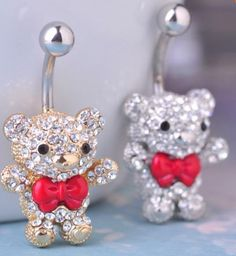 Red Bow Tie Little Bear Navel Belly Button Rings 316L Surgical Steel 14G 1.6 mm Bar