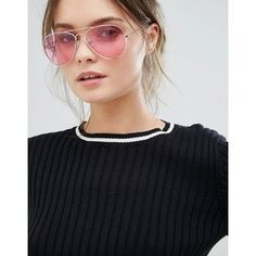 Jeepers Peepers Aviator Sunglasses with Pink Tinted Lens ($28) ❤ liked on Polyvore featuring accessories, eyewear, sunglasses, pink tinted glasses, pink lens sunglasses, pink tinted sunglasses, aviator sunglasses and tinted lenses glasses
