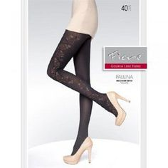 PAULINA Black Tights Hosiery nylons 20 den Floral Side Seam Patterned Fiore  #Fiore #Tights