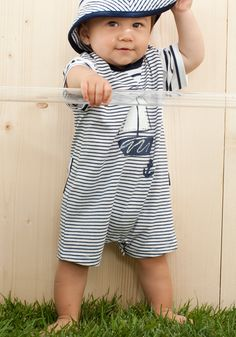 le top Wide Stripe Romper with Duckie Paper Hat Baby Boys