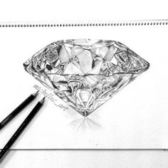 Realistic Diamond Drawing by MichelleCArt.deviantart.com on @DeviantArt , I wonder what it would look like had it been drawn at a angle