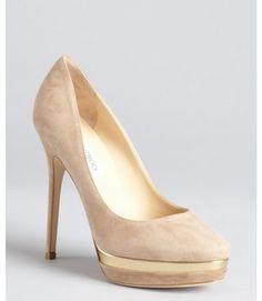 Jimmy Choo Taupe Suede and Gold Lacquered Platform Brulee Pumps   Shoes  www.finditforweddings.com